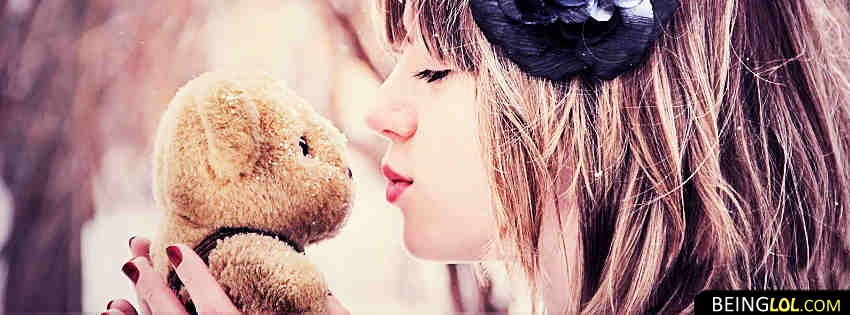 Cute Teddy Bear And Girl Facebook Covers
