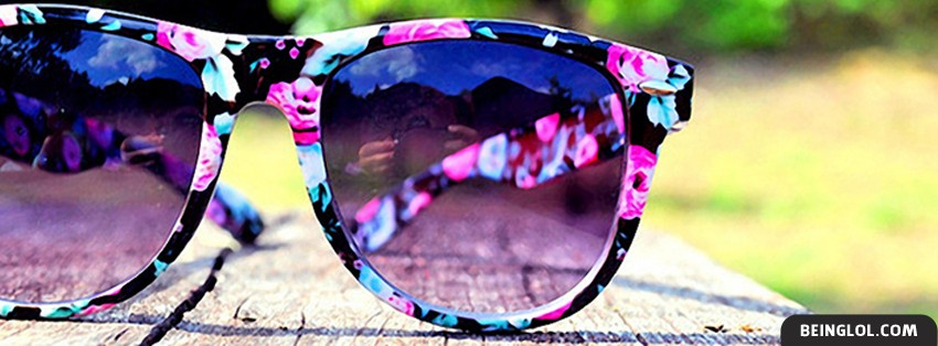 Pink Flowery Sunglasses Facebook Covers