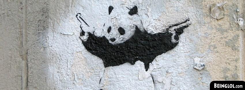Street Art Panda Holding Guns
