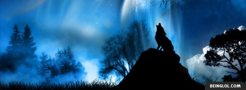 Wolf Howling in Moonlight