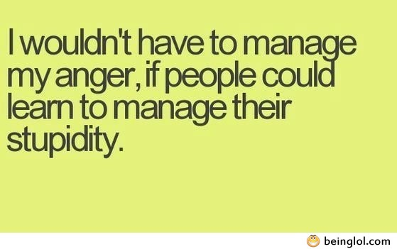 I Wouldn't Have to Manage My Anger