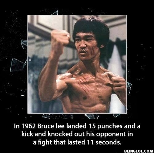 Did You Know That Once Bruce Lee Landed 15 Punches and a Kick, and Knocked Out...