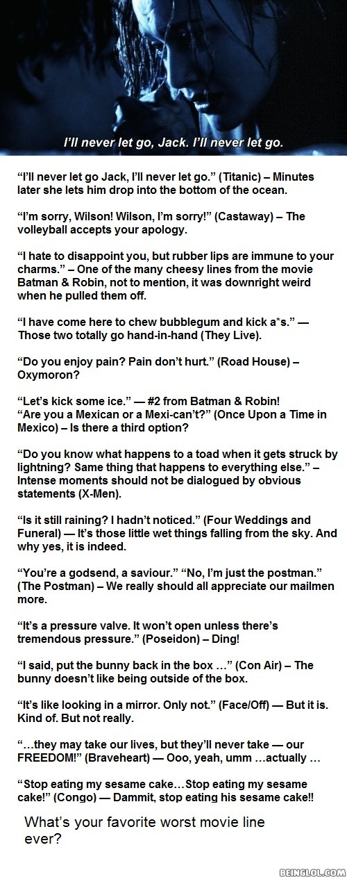 Top 15 Worst Movie Quotes of All Time