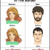 Women And Man In Barber!
