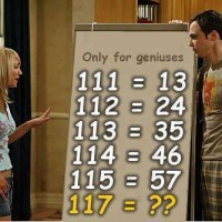 Question: If 111 is 13 then what will be answer of 117?